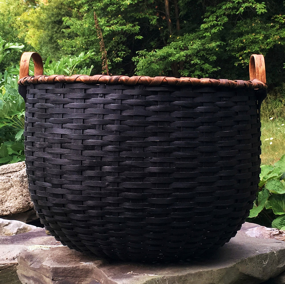 Large Double Bottom Harvest Basket 20 Diam X 16 Overall Height Warm Black W Natural Patina Rim 900 00